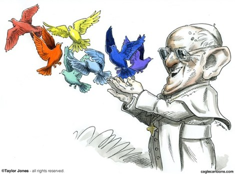 Cartoon of Papa Frank tending to his flock by cartoonist Tony Jones: http://www.cagle.com/2013/09/pope-francis-tends-flock/