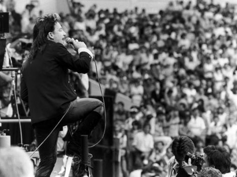 U2 frontman Bono performs at the 1985 Live Aid concert in Wembley Arena, London.